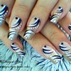 Abstract Black and White Nail Design