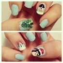 Christmas nail art! Snowman, penguin, Christmas tree.