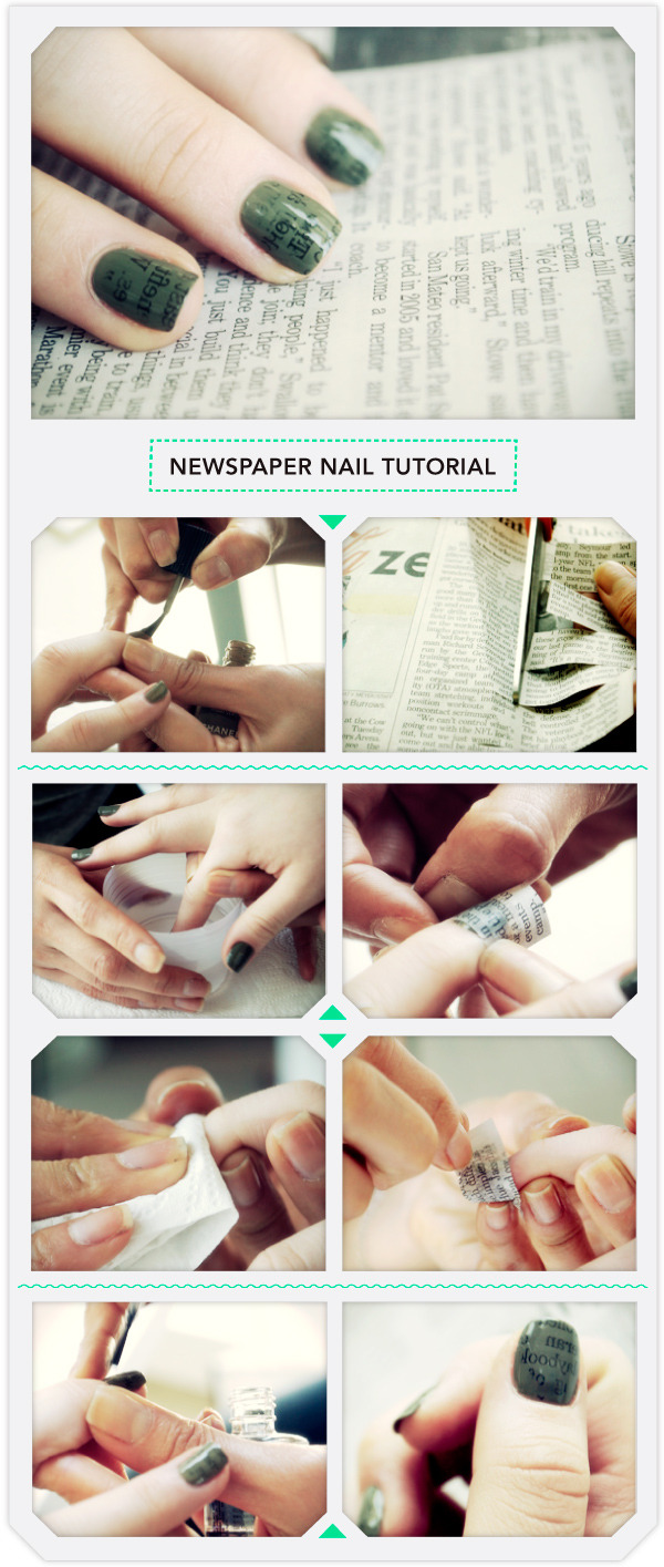 Newspaper nail tutorial beautylish prinsesfo Choice Image