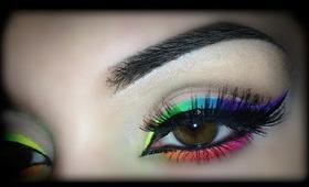 Summer 2014 - Neon Rainbow Eyeliner - Makeup Tutorial