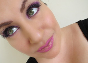 Purple eyes and pink lips with gold glitter