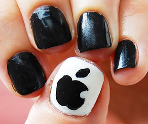 Apple iNails (in memory of Steve Jobs) -I used white and black with top color, i make a video not a tutorial: http://www.youtube.com/watch?v=EnhFWGfFHEU