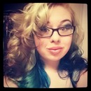 Blonde with Brown Tips with Blue and Green Loosely Curled Hair
