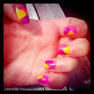 My attempt at colour block nails... yellow, neon pink & electric purple