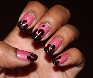 Simple drip nails http://chinadolltt.blogspot.com/2012/08/strawberry-chocolate-drip-nails.html