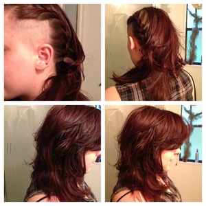 Edgy side cut with round & square layers throughout hair, layered side swept fringe. Hair color electric cherry ⚡🍒