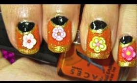 Tangy Gold nails-nailart tutorial.. :-)