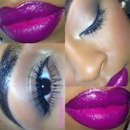 Neutral eyes, bold lips