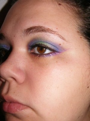 """""""Northern Lights"""" Inspired Makeup. Excuse the brows please."""