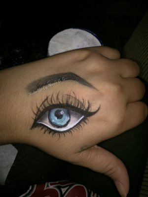 I have an eye on my hand! Lol jk... I drew it there. Just wanted to share a little piece of my art with you all. Recreated this from Eric_C_Duhhh Enjoy. https://m.facebook.com/makeupbymariag.g