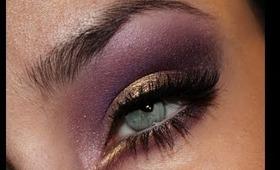 Gold and Deep Purple Makeup