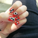 Red, white and black flower nails :)