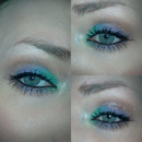 Minty green, purple and brown look.