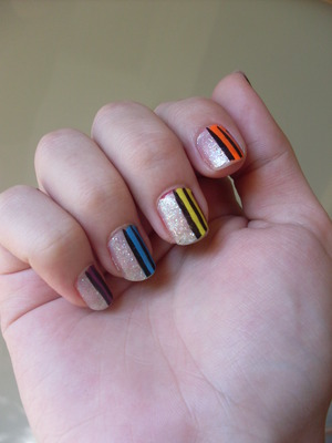 The nails I wore for Pride!  If you want a breakdown of all the colours I used and the steps taken, visit my blog at rivuletsbeauty.blogspot.com (: