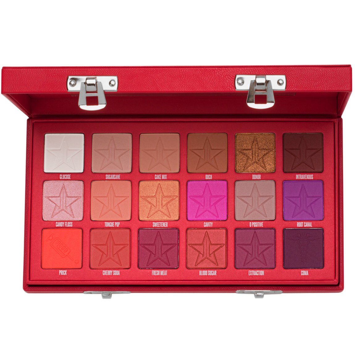Jeffree Star Cosmetics Blood Sugar Eyeshadow Palette product swatch.