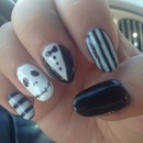 Jack skellington nails stripes halloween black white tuxedo