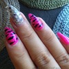Hot pink zebra nails
