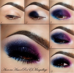 INSTAGRAM @AURORAMAKEUP (ENGLISH -ESPAÑOL) 1. Apply an Eye Shadow Base by #motivescosmetics on top and lower eyelids 2.Place a white base on the inner corner until center of the eyelid , brow bone and below lower lashes as Jumbo Pencil  in MILK by #NYXcosmetics . Next place  gel eyeliner on the outer side of the mobile eyelid . I used  Ultra Smooth Gel Eyeliner in NAVY  by # FemmeCouture  3. Apply a dark blue shadow on the gel liner  as the  darkest blue on ELF palette 144 (colorful one) by #ELFcosmetics . In the inner part of the mobile eyelid & below inner corner …apply bright pink shadow as PINK DIAMONDS ES-65 by #adaraparis and blend the edges between colors. For below lower lashes in the outer part I applied pigments SE16 and SE17 by #adaraparis 4. Spread a bright pigment in white like SE08 by #adaraparis. Line top lashes and waterline with Gel eyeliner in LITTLE BLACK DRESS by #motivescosmetics blending it out the edges to integrate the black with the colors.   5.Add  an amazing lashes as PIXIE LUXE by @houseoflashes and apply black mascara by #ZANZUSI  1. Aplicar una prebase de sombras  de #motivescosmetics an ambos parpados del ojo 2.Coloca una base blanca desde el  lagrimal hasta el centro del parpado movil , también en el hueso de la  ceja y por debajo de las pestañas inferiores como es el  Jumbo Pencil  en color  MILK  de  #NYXcosmetics . Despues coloca  gel delineador en la parte final del parpado movil. Yo use el  Ultra Smooth Gel Eyeliner en color NAVY  de # FemmeCouture  3. Aplica una sombra azul encima del gel delineador como lo es la sombra mas oscura de la paleta  ELF 144 (colorida) de #ELFcosmetics . En la parte interna del parpado y debajo del lagrimal usa un rosa vibrante como lo es PINK DIAMONDS ES-65 de #adaraparis. Debajo de las pestañas inferiors en la parte externa aplica una mezcla de pigmentos  SE16 y SE17 de  #adaraparis 4. Esparce sobre todos los parpados un pigmento blanco brillante como SE08 de #adaraparis. Delinea las pestañas superiors y la linea del agua con un Gel delineador en color (negro) LITTLE BLACK DRESS de  #motivescosmetics  difumina los bordes.   5.Agrega unas hermosas y pronunciadas pestañas como las PIXIE LUXE de @houseoflashes  y finaliza aplicando mascara negra de pestañas de #ZANZUSI  That's it  gorgeous , have a great day!!! LOVE U!!!!