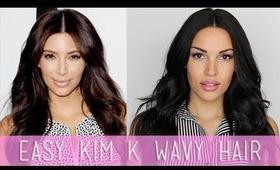 Easy Kim K Wavy Hair Tutorial (My Everyday Hair)