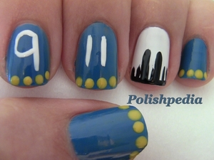 This nail art was my way to commemorate 9-11.  I hope that everyone remembers to love.  That is what I get from 9-11.  It was a tragedy caused by a lack of love and care for fellow human beings.  I hope this 9-11 design inspires you.  Watch Video Tutorial: http://www.polishpedia.com/9-11-nail-art-remember.html