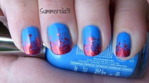 Sally Hansen Xtreme Wear Pacific Blue, L.A. Girl Glitter Addict Animate, and China Glaze Ring In the Red