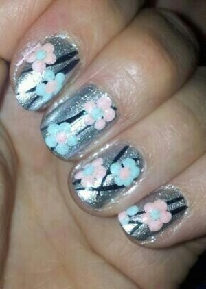 flowers on silver