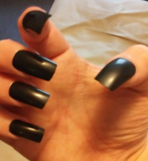 Medium length, squared, acrylic nails with black semi-gloss lacquer finish.