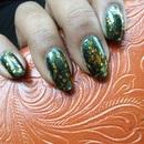China Glaze: Emerald Fitzgerald + Charlotte Russe: Chunky Glitter (Gold)