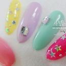 Korean star glitter nail art