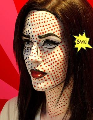 This is my look inspired by Roy Lichtenstein's POP ART. I used a variety of products including M.A.C Pro Acrylic paints, MAKE UP FOR EVER clown white and a few products listed below....