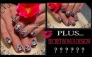 BLACK AND SILVER FLORAL NAIL ART + SECRET BONUS DESIGN! TUTORIAL - ♥ MyDesigns4You ♥