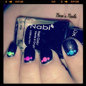 used a matte black base and used different colored neon studs in different sizes!