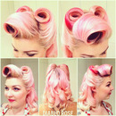 Victory roll pink vintage curl set