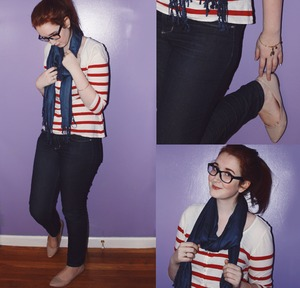 Being a proud New Englander I tend to embrace stripes, navy, red and anything with sea creatures on it. Getting a navy scarf for an early birthday present was the cherry on top. I like how this top is lightweight enough to be cool inside with the heat on and yet the scarf warms it up enough that I don't need a coat. But if it was really chilly out I could wear one comfortably. The perfect pair for in between weather. For more on this look check out my blog post all about it. grandeursimplicity.tumblr.com/post/36043142602/new-england-nautical