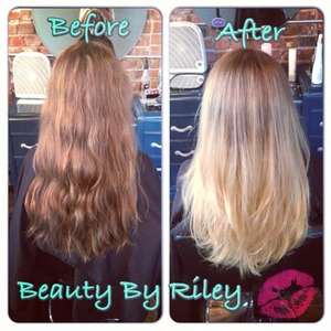 Before & after from virgin hair to a gorgeous ombred balayage!   Stay connected with me!  YouTube.com/rileyyvalentine  Facebook.com/beautybyriley  INSTAGRAM rileyyvalentine