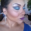 Blue Smokey eye and purple lip :-)