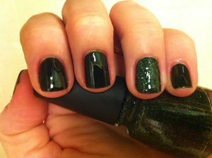 Finger paints tough art to follow with china glaze winter holly accent nail seche clear base and seche vite topcoat