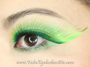 "St. Patrick's Day fun! Full review here: http://blog.falseeyelashessite.com/giant-green-false-eyelashes-for-st-patricks-day/  Lashes used: W582 ""Shamrock"" Wild Color Lashes from www.FalseEyelashesSite.com."