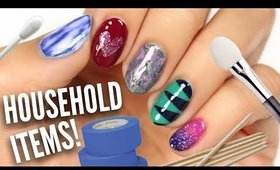 5 Easy Nail Art Designs Using HOUSEHOLD Items!