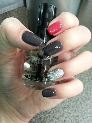 "My favorite colors all in one. ""Grey Area"" by Sally and ""Folly"" by Sinful"