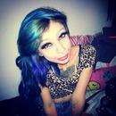 Turquoise Hair , Dark Eyeshadow , Wet n Wild Lips