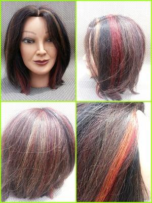 Added highlights, dark brown lowlights, red highlights and orange and red peekaboos     www.facebook.com/hairmakeupandnailsbyashley