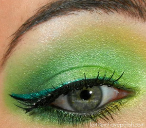 On my lids are BFTE in Lemon, Sour, Envy, Apple, Dragon Slayer and Sugarpill in Junebug.