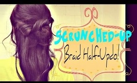 ★5 MIN   HOW TO: SCRUNCHED-UP BRAID HALF-UP HALF-DOWN UPDO HAIRSTYLE FOR MEDIUM LONG HAIR TUTORIAL