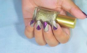 Nail Art Without Tools ~ Edgy Glitter Nails Just with Polish