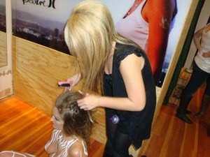 doing hair! and yes i was blonde at one point lol