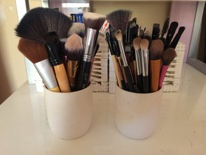 Just about to wash these EXTREMELY dirty makeup brushes.