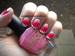 Sally Hansen Xtreme Wear in White On LA Girl Disco Brites in Disco Diva Wet n' Wild Wild Shine in Red Red