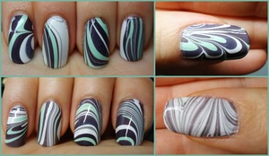 """i tried this new herbalife mint chocolate shake and it inspired me to do a """"minty"""" themed manicure. typical marbling procedure :) used: sally hansen xtreme wear- white on, china glaze- re-fresh mint, zoya- kelly"""