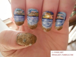 I'm dreaming of a beach vacation, but this will do. And yes, that is real sand on my nails :)